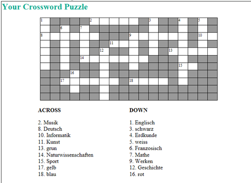 German School Subjects and Colours Crossword
