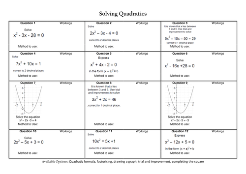 Solving Quadratic Equations Revision by CALeech Teaching – Quadratic Equations Worksheet with Answers