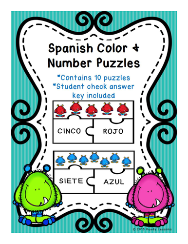 Spanish Numbers 1-10 and Spanish Colors Vocabulary Game Puzzles Activity