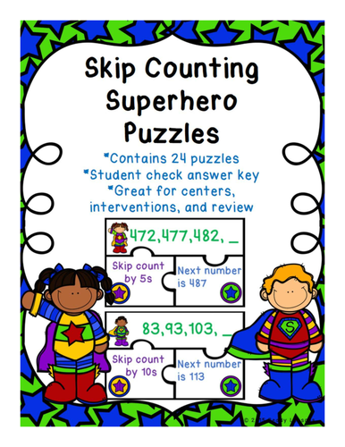 Skip Counting Game Puzzles for Skip Counting by 5, 10, and 100 - 2.NBT.2