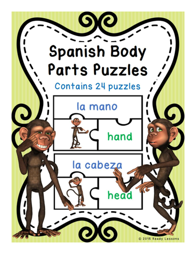 Spanish Body Parts Vocabulary Game Puzzles for Spanish Center ESL / ELL / EFL