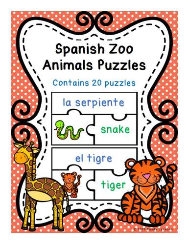 Spanish Zoo Animals Vocabulary Game Puzzles for Spanish Center ESL / ELL / EFL