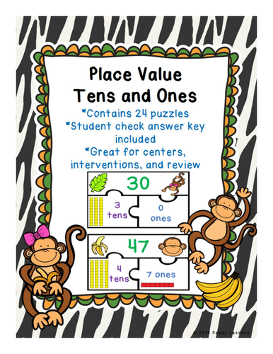 Place Value Game Puzzles - Place Value Tens and Ones 1.NBT.2