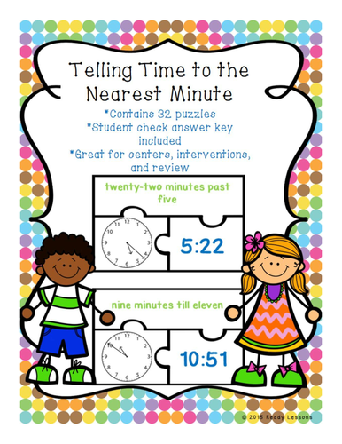 Telling Time Game Puzzles for Telling Time to the Minute 3 MD 1