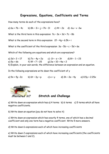 Coefficients, Terms, Equations and Expressions