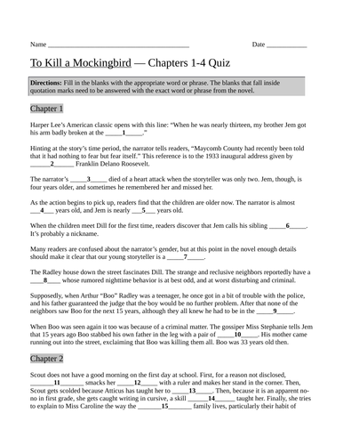 To Kill a Mockingbird by Harper Lee Chapters 1-4 Quiz with Answer ...