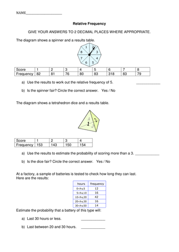 Relative Frequency Worksheet by hstaines - Teaching Resources - TES
