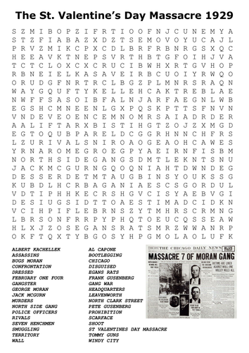 The St Valentine S Day Massacre 1929 Word Search By Sfy773
