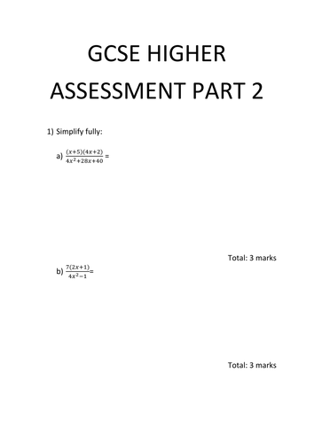 GCSE HIGHER Paper part 2 / GCSE HIGHER revision  part 2 with answers