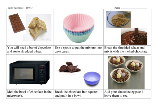 Easter nest recipe storyboard - differentiated
