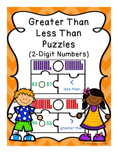 Greater Than Less Than Game Puzzles for Comparing 2 Digit Numbers 1.NBT.3