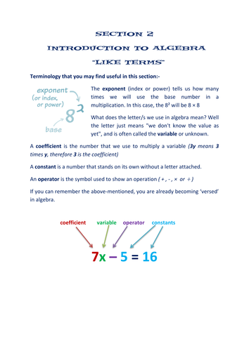 SECTION 2: ALGEBRA WORKSHEETS - GATHERING LIKE TERMS