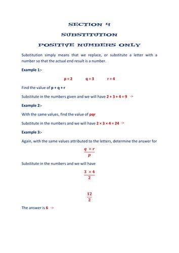 section 4 algebra worksheets substitution by math. Black Bedroom Furniture Sets. Home Design Ideas