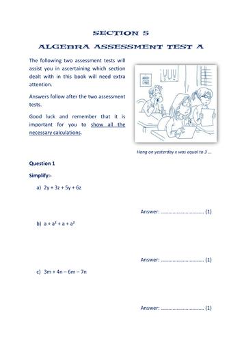 section 5 algebra assessment tests x2 by math worksheets. Black Bedroom Furniture Sets. Home Design Ideas
