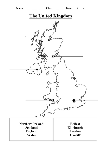 Map Of England For Ks1.United Kingdom Map Labelling Differentiated