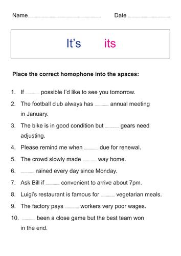 Homophones - Its or it's
