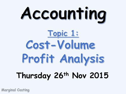 Marginal Costing (CVP Analysis) Introduction