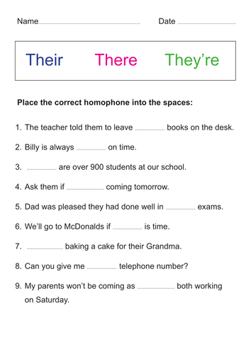 Homophones Their There They Re By Mdudson22 Teaching Resources