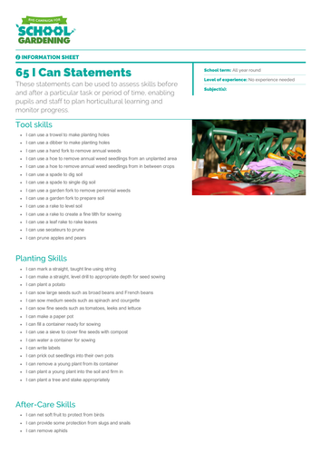 65 I Can Statements