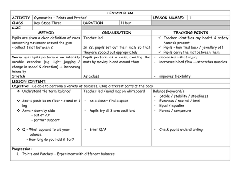 Detailed GYMNASTICS (Floorwork) Unit of Work - Yr 7 Lesson Plans x7