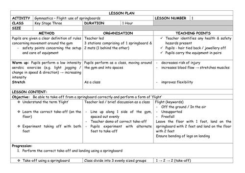 Detailed GYMNASTICS (Flight) Unit of Work - Yr 7 Lesson Plans x 7