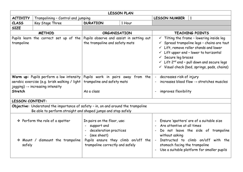 Detailed TRAMPOLINING Unit of Work - KS3 Lesson Plans x14