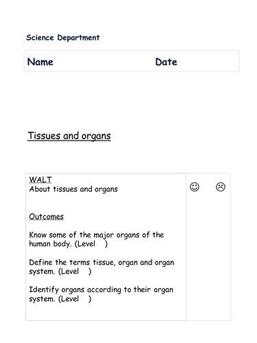 CELLS TISSUES ORGANS BOOKLET KS3