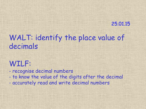 Year 4 - Identify the place value of decimals