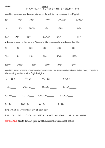 Roman Numerals: Presentation, 3 Differentiated Worksheets and Word Problems Extension