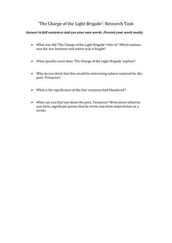 Charge of the Light Brigade research task