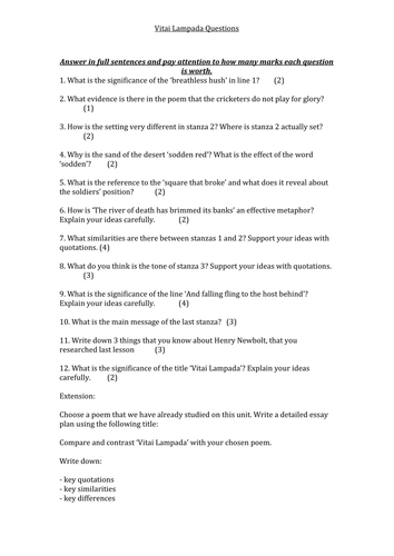 Vitai Lampada - questions and essay extension