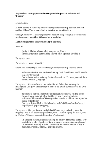 Essay plan for Seamus Heaney's 'Follower' and 'Digging'