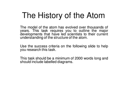 History of the atom AFL