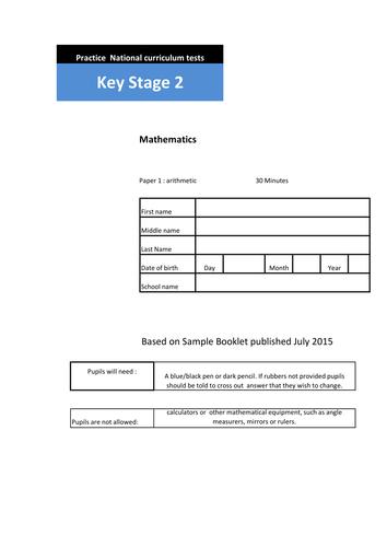 NEW UNIQUE SET  of 7  KS2 Arithmetic Practice papers.