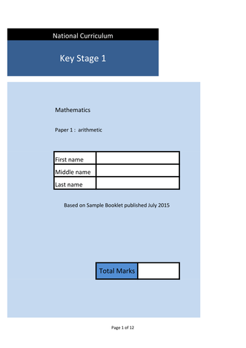 Set of 7 KS1 Sample Arithmetic Papers. 175  Questions in total with answers.