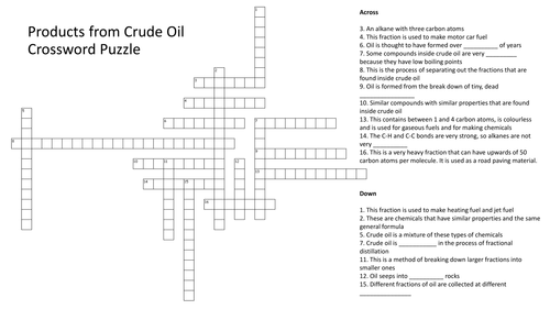 Products From Crude Oil Crossword Puzzle With Answers By Richardrogersscience