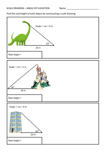 Worksheets Scale Drawing Worksheets angle of elevation scale drawing worksheet by mrgraymaths teaching resources tes