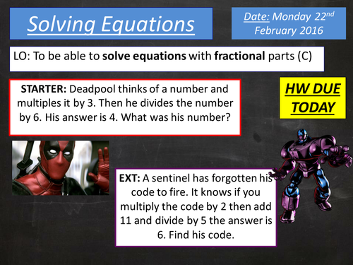 KS3 / KS4 Solving Equations with Fractions Updated