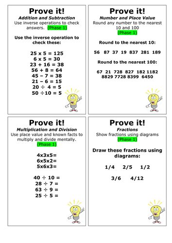 Year 4 Maths Assessment - Prove It Cards (Phase 1-3)