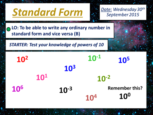 KS4 Standard Form - Series of lessons with Activites