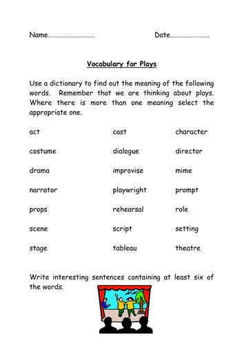 elements of drama worksheet pdf