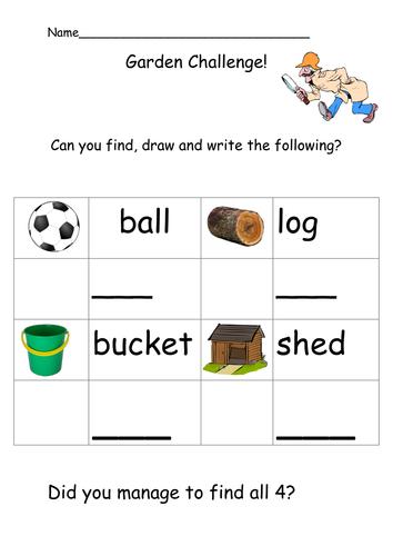 Garden Challenge sheet 2