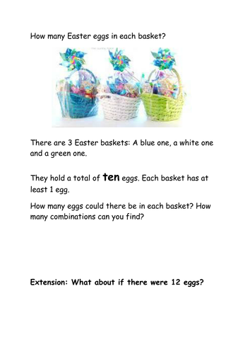 KS1 Easter Eggs in a basket Maths Investigation based on New curriculum