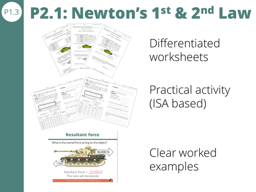 P21 Newtons 1st and 2nd Law resultant force and F ma – F Ma Worksheet