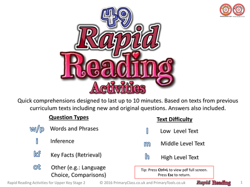 Rapid Reading - 49 Quick Reading Activities for Upper Key Stage 2