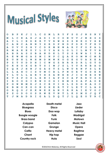 Music Styles Word Search
