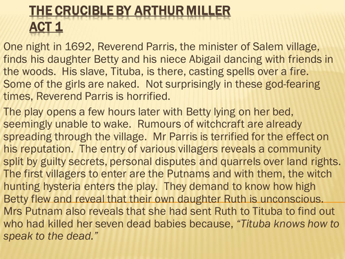 the motivation of putnam and parris in the crucible a play by arthur miller It's fire and brimstone time at the virginia theater, where the crucible is thundering across the stage nightly it could be argued that another layer of moralism is precisely what arthur miller.