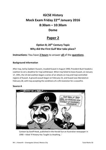 IGCSE History Paper 2 - Gulf War Mock