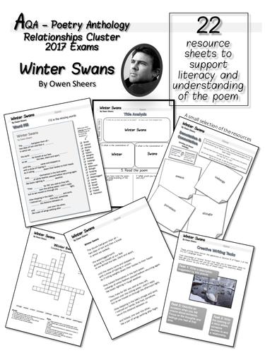 Winter Swans Worksheets.  AQA Anthology 2017