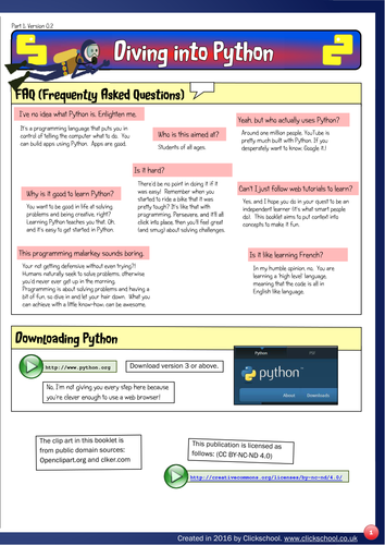 Diving into Python: Fun Programming for 11-15 year olds. (v0.2)